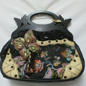 Mary Frances Butterfly jeweled leather wood handle